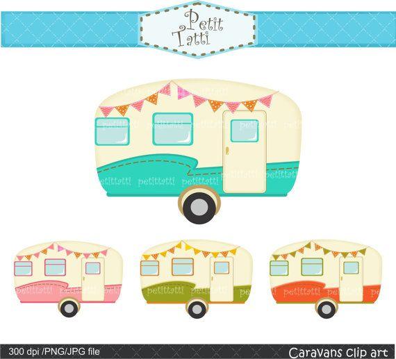 Vintage Caravan Clipart Car Retro Caravans Campervan Camper Scrapbooking
