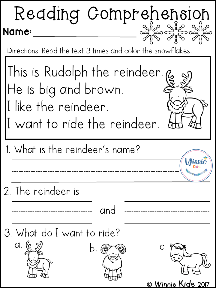 Kindergarten Reading Comprehension Passages Winter Reading Comprehension Kindergarten Free Kindergarten Reading Reading Comprehension Passages