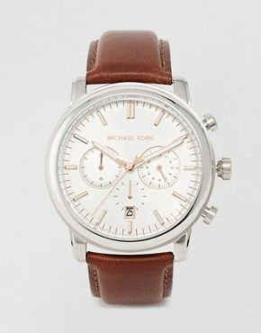 98e7ca9f144e Michael Kors Landaulet Chronograph Brown Leather Strap Watch MK8372 ...