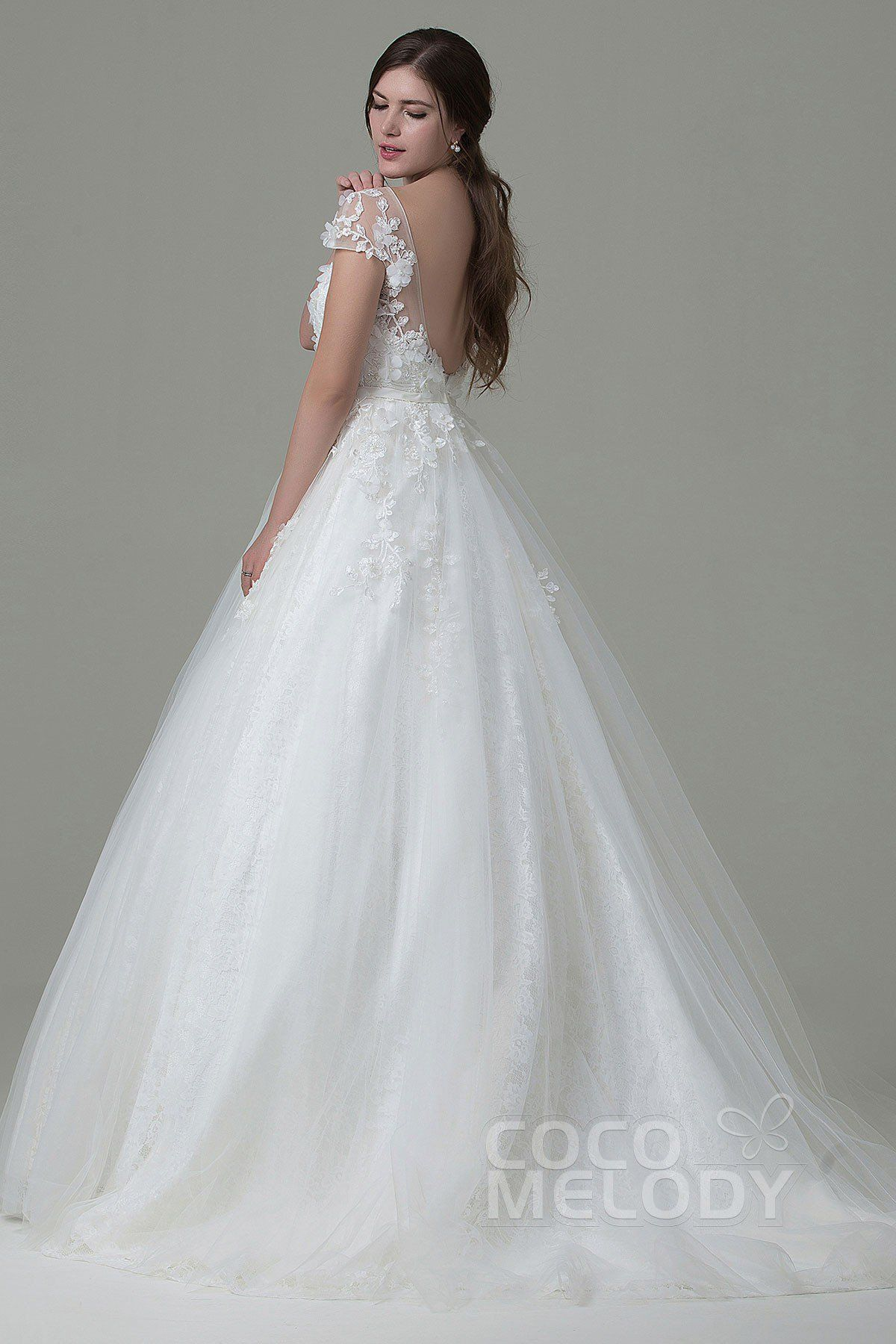 Lace cap sleeve a line wedding dress  Perfect Aline Illusion Natural Court Train Tulle and Lace Cap