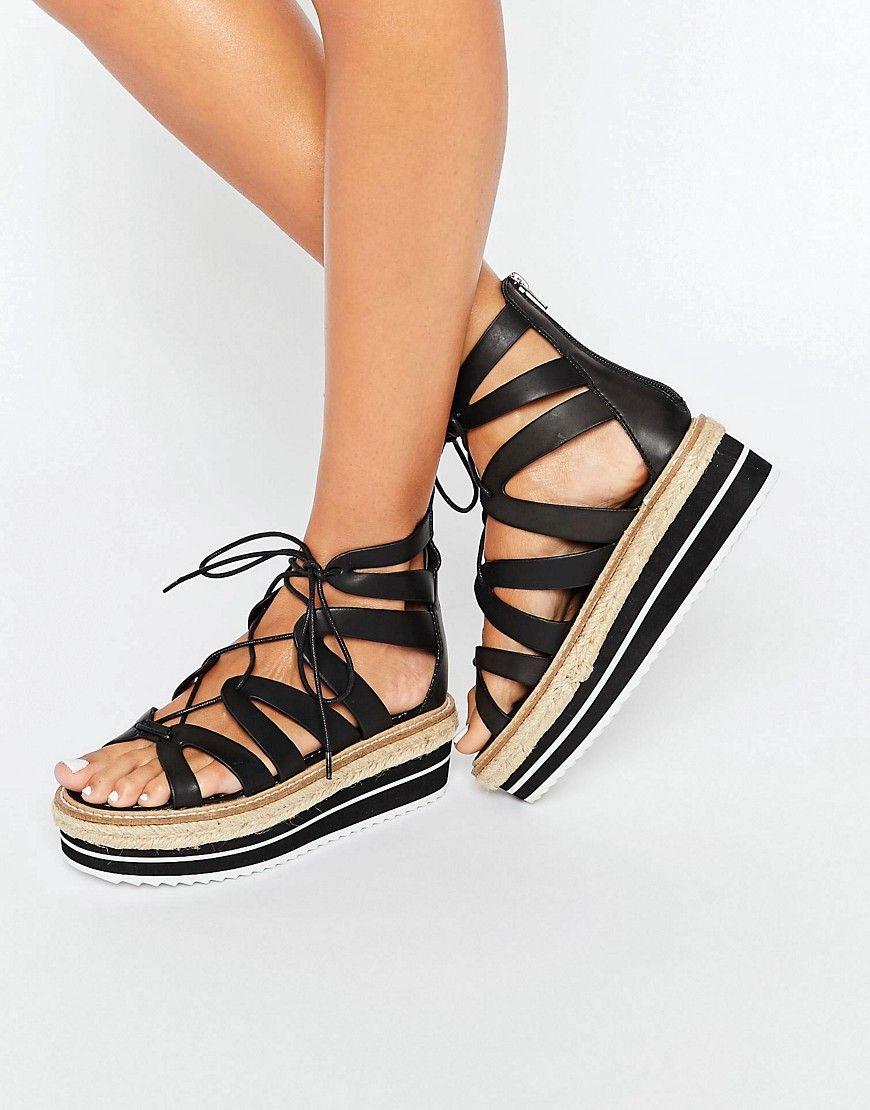 Black nice sandals - Image 1 Of Sixtyseven Echos Black Ghillie Espadrille Flatform Sandals