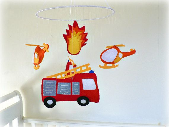 Baby Nursery Mobile Fire Engines And Helicopters By Lullabymobiles On Etsy