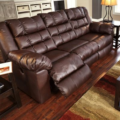 Signature Design By Ashley Brolayne Durablend Reclining Sofa Type Manual Upholstery Brown