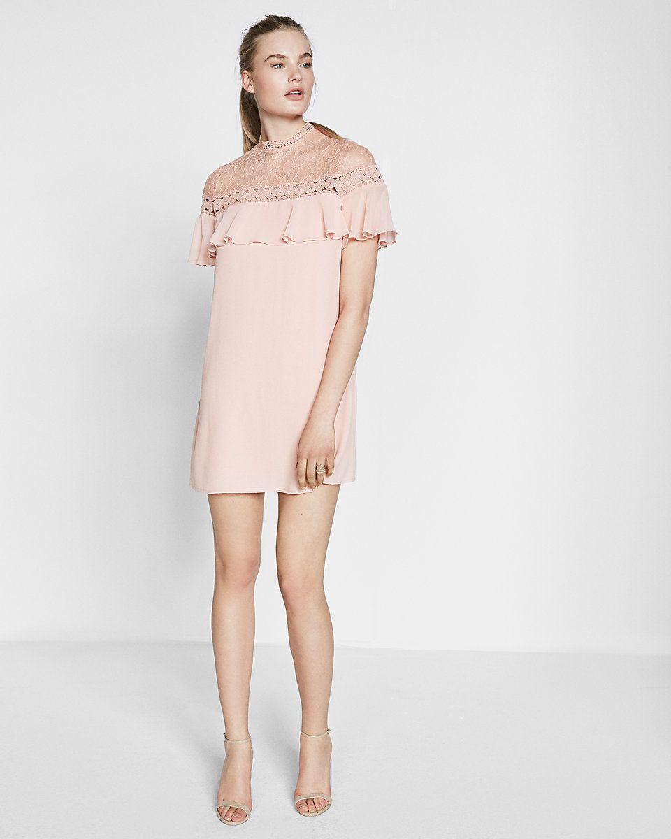 Lace Yoke Ruffle Short Sleeve Shift Dress Short Sleeve Shift Dress Shift Dress Dresses [ 1200 x 960 Pixel ]