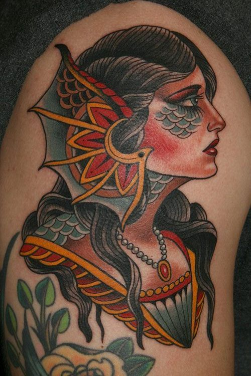 Neo Traditional Mermaid Tattoo: American Traditional Mermaid Girl Tattoo // Stefan