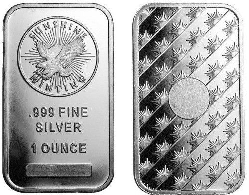 1 Oz Sunshine Silver Bar New Mintmark Si Silver Bars Silver Bullion Silver