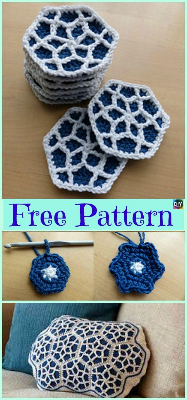 10 Beautiful Crochet Hexagon Free Patterns | Pinterest | Polster ...