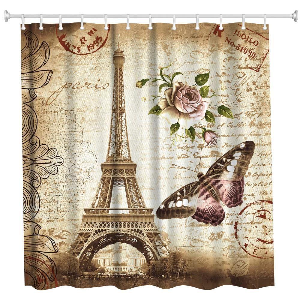 Eiffel Tower /& Butterfly Shower Curtain Bathroom Waterproof Fabric w//12 Hooks