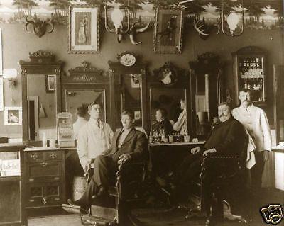 Vintage Barbers Antique Barbershop Mustaches Antlers