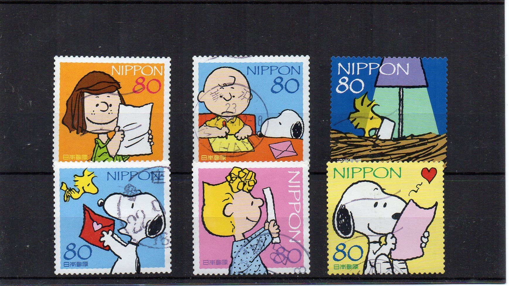 6 Snoopy Cute Japanese Stamps Japan Postage Asian
