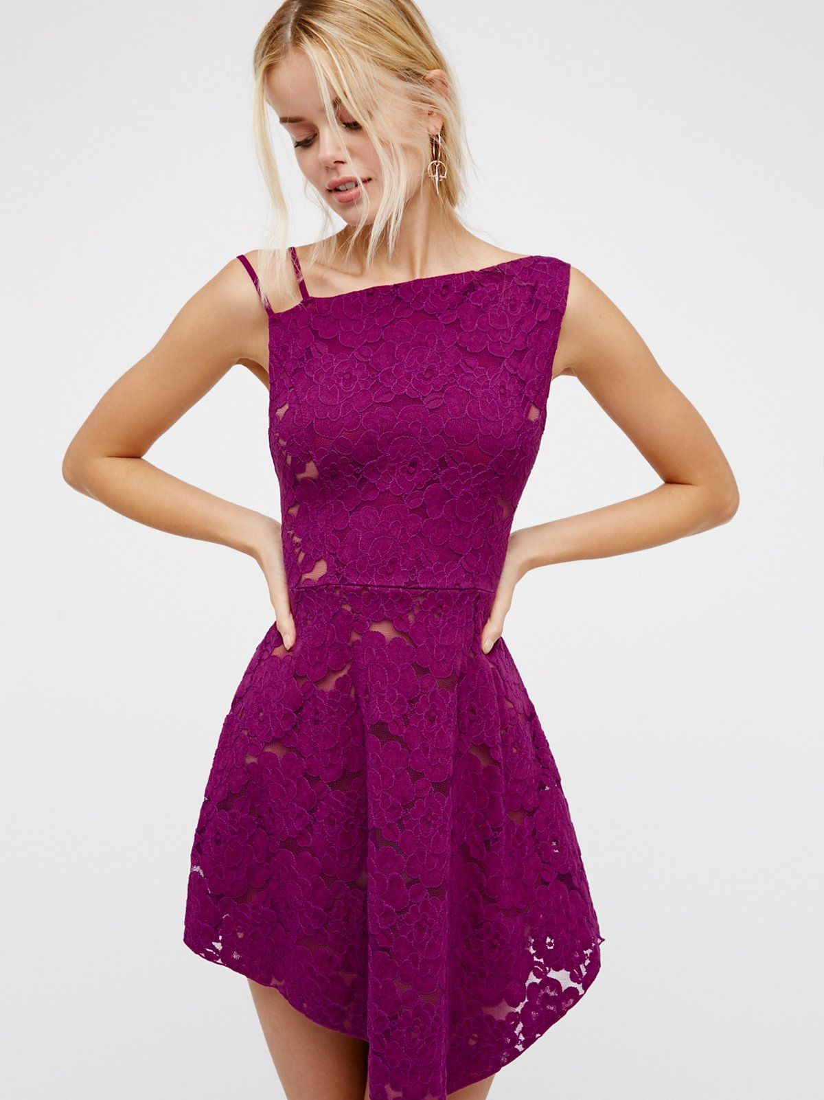 Asymmetric Lace Fit & Flare | Pretty fit and flare mini featuring a ...