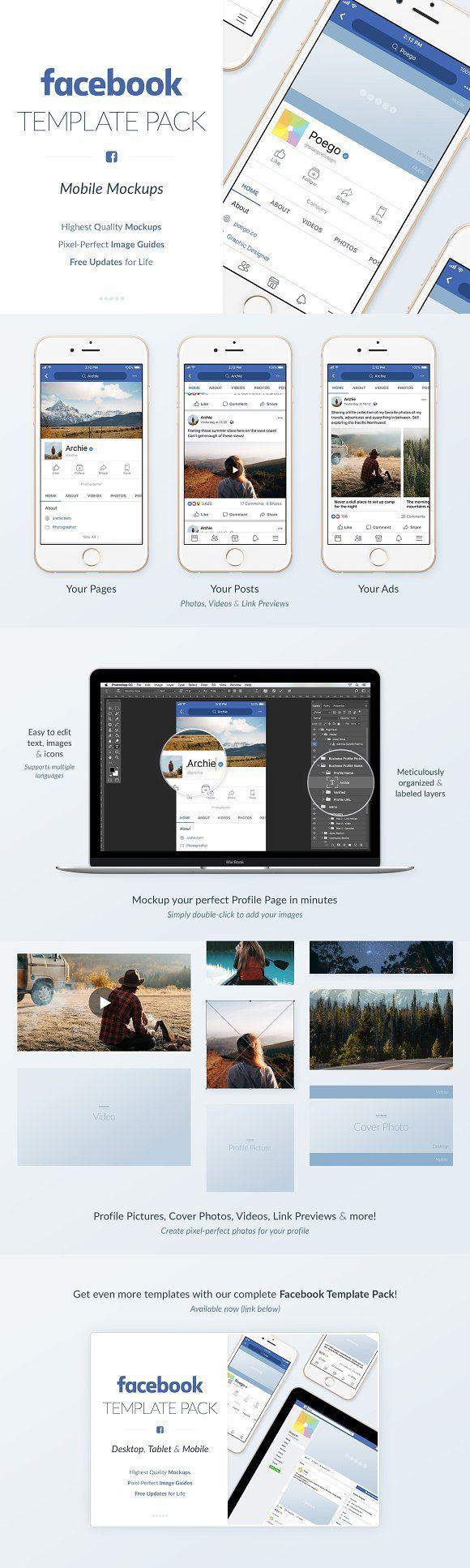 Facebook Mobile Mockups Pack Mockup Social Media Template And