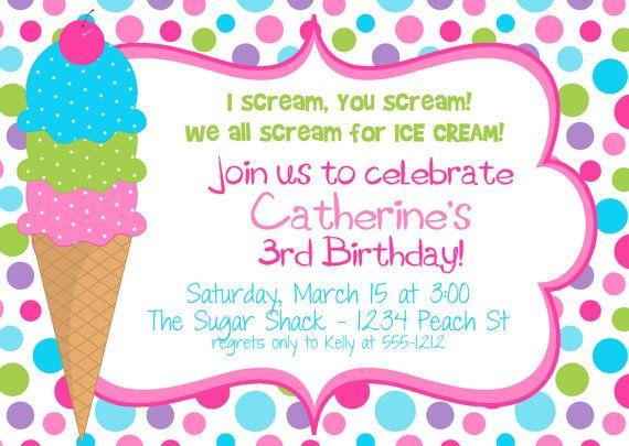 polka dot ice cream cone birthday party invitation in hot pinks, party invitations
