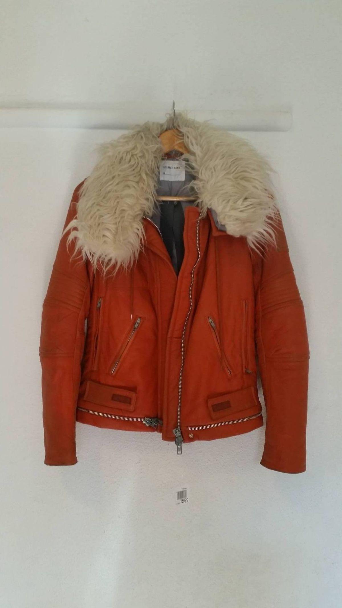 Buy Helmut Lang leather astro biker jacket w/ fur, Size