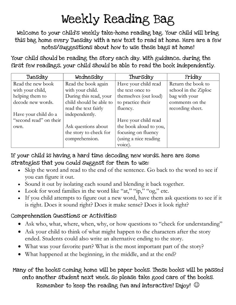 Home Reading Log Information.pdf Reading at home, Home