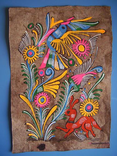 78719f0ccdaa1 Vintage 1970'S Handpainted Amate Tree Bark Painting Mexican Folk ...