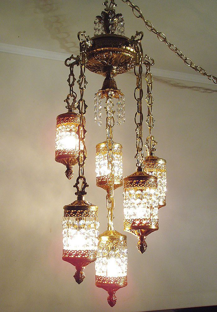 1960s 70s Vintage Brass Crystal Hanging Swag Lamp Chandelier