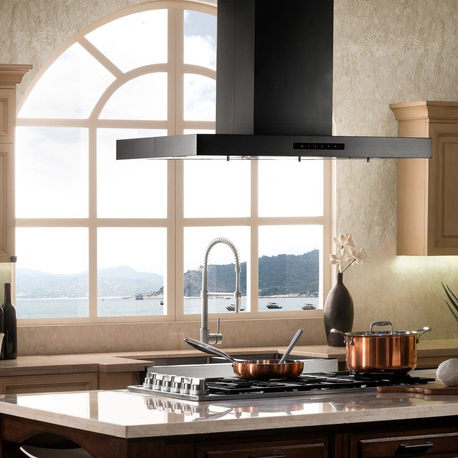 Island Mount Range Hood In Black Stainless Steel Bske2in In 2020 Range Hood Stainless Steel Range Black Stainless Steel