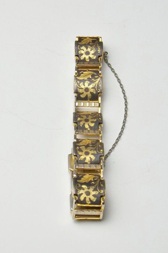 Italian Gold Chain >> Vintage Damascene Flower Floral Panel Costume Jewelry ...