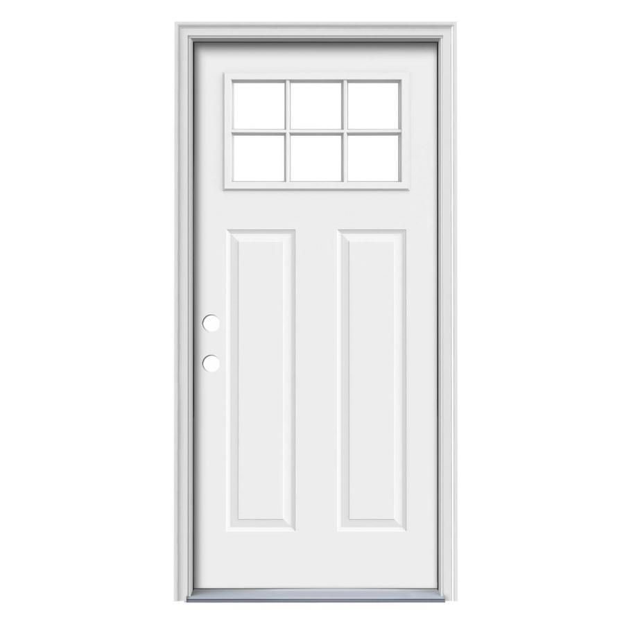 32 X 80 Right Hand Inswing 1 4 Lite Doors With Glass Steel Doors The Home Depot Exterior Doors Craftsman Front Doors Exterior Front Doors