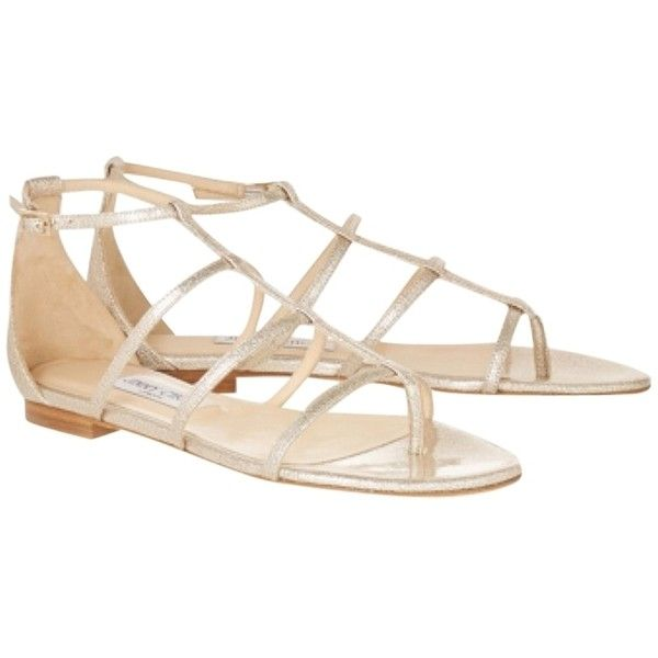 2963f9ff6ea2 Pre-owned Jimmy Choo Dory Gold Metallic Sandals ( 338) ❤ liked on Polyvore  featuring shoes