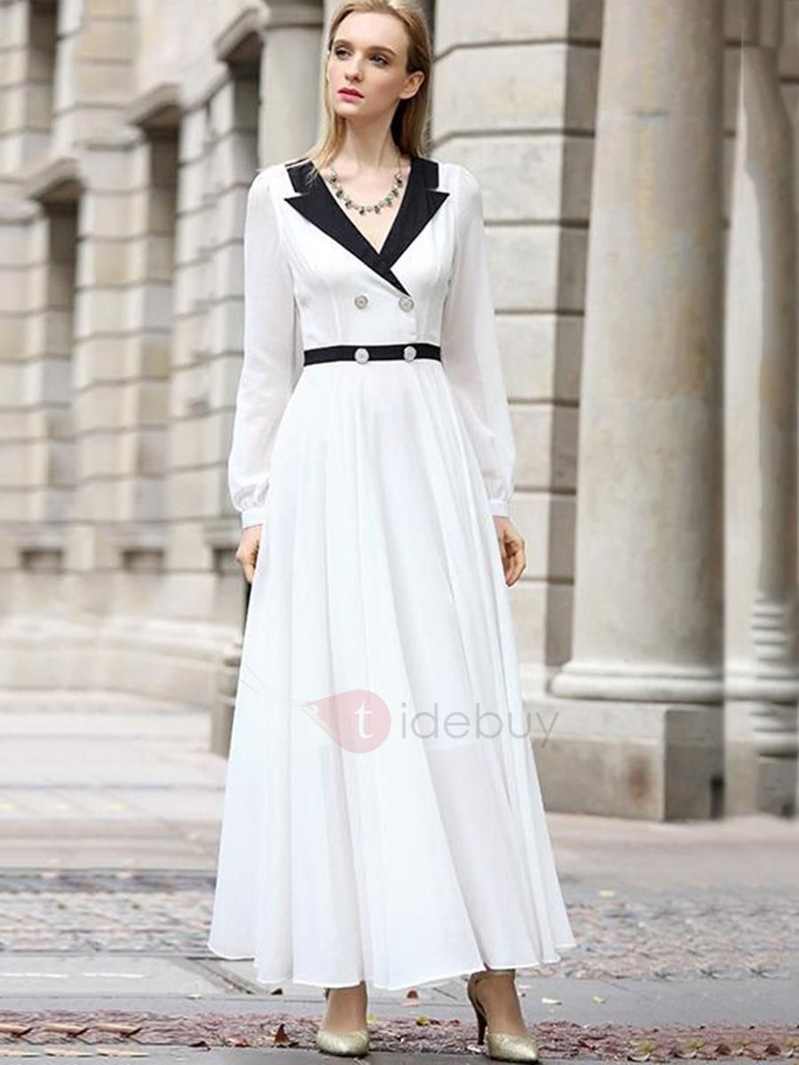 White v neck long sleeve womens maxi dress maxi dresses dress