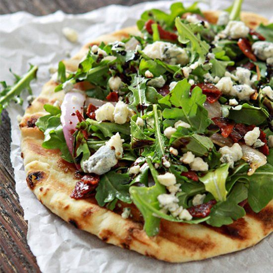 Bacon Blue Cheese Grilled Flatbread with Arugula.