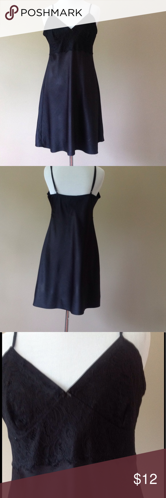 Satin and lace slip dress lingerie Size medium with adjustable straps by. Gilligan and O Malley Sleepwear Gilligan & O'Malley Intimates & Sleepwear Chemises & Slips