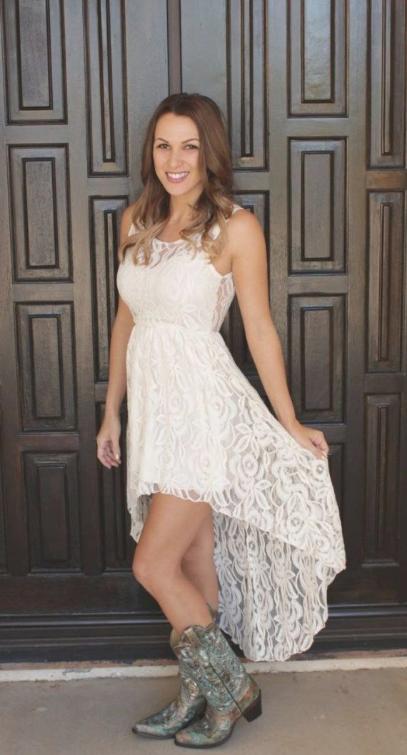 33 Beautiful Wedding Dresses To Wear With Cowboy Boots Ideas Best Inspiration Hi Low Wedding Dress Country Dresses Wedding Dresses High Low