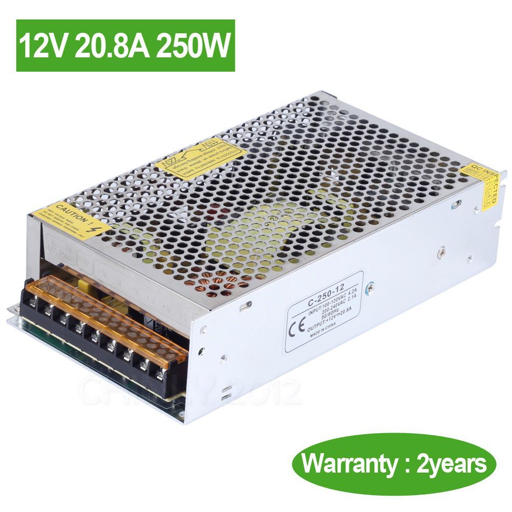 Dc 12v 20 8a 250w Ac 110v 220v Input Led Switch Power Supply Driver Transformer For Led Strip Led Module Led Lights With Images Light Accessories Led Strip Led Module