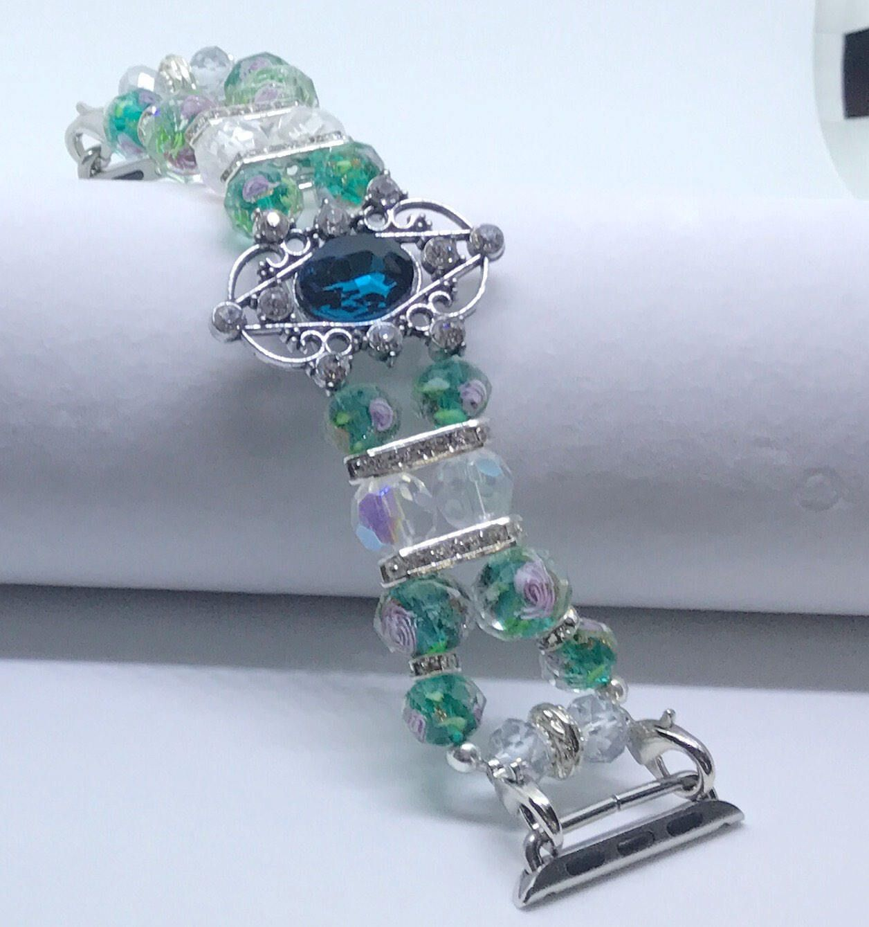 """Emerald Green w/Pink Highlights Beaded Bracelet Watch Band For 38mm or 42mm Apple Watches (w/ Silver Metal) for Wrist Sizes 6 1/2"""" - 6 3/4""""  Handmade Women's Beaded Bracelet Watch Bands Compatible for Apple Smartwatch (38mm & 42mm) - made in the USA by www.elegantlifeboutique.com  Please visit my website, Etsy shop or my new eBay store @ElegantLifeBoutique"""