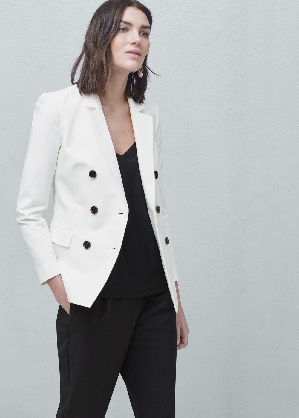 Double-breasted cotton blazer - Jackets for Women | MANGO USA