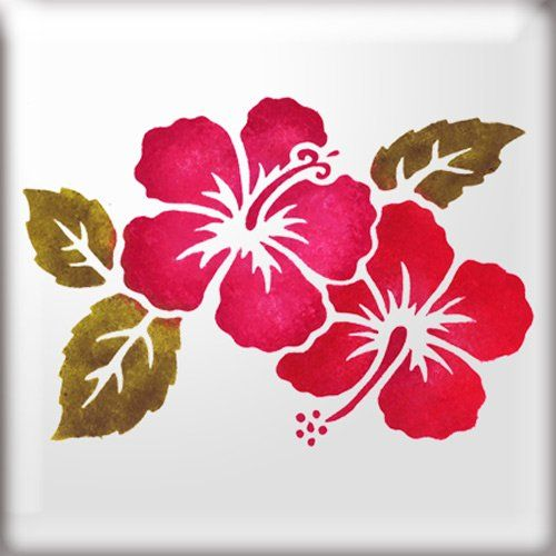 The Stencil Studio Hibiscus Flowers With Leaves Reusable Stencil