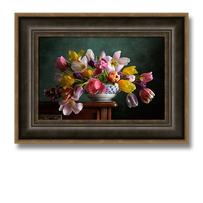 Fading Tulips - Still life with bouquet of fading tulips of different colors in white bowl on wooden table  by Nikolay Panov - https://pixels.com/products/fading-tulips-nikolay-panov-framed-print.html