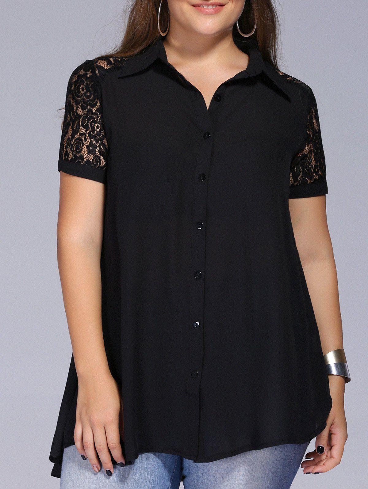 Lace Trim Plus Size Tunic Blouse