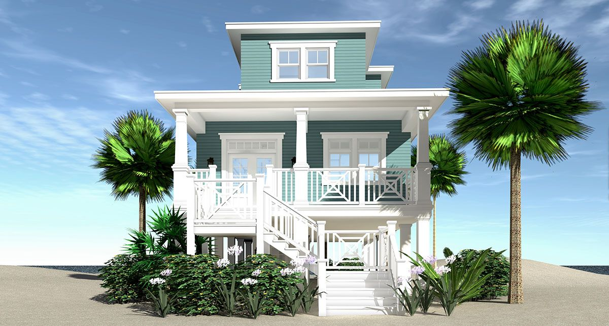 Plan 44144td Narrow Beach Home With 3 Beds And Great Views Beach House Floor Plans Coastal House Plans Beach Style House Plans