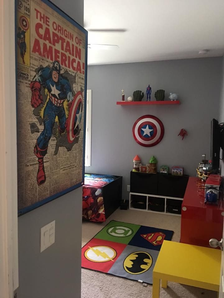 Grey for the 3 walls | Marvel room, Boys superhero bedroom ...