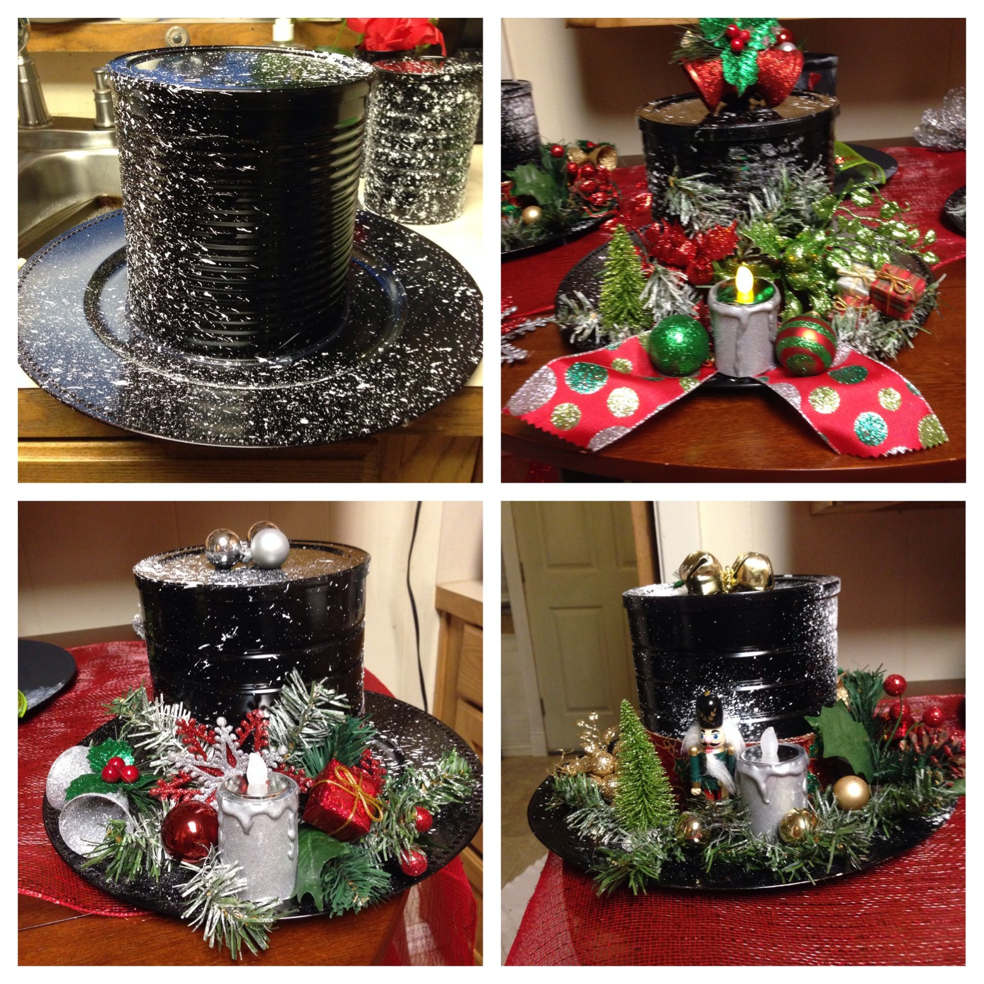 Christmas Decorations For Coffee Shops: Snowman Hat's.......black Spray Paint, Coffee Can ,plastic