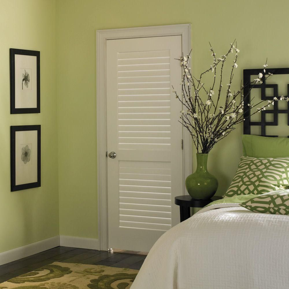 Masonite Plantation Smooth Full Louver Solid Core Primed Composite Single Prehung  Interior Door   11314