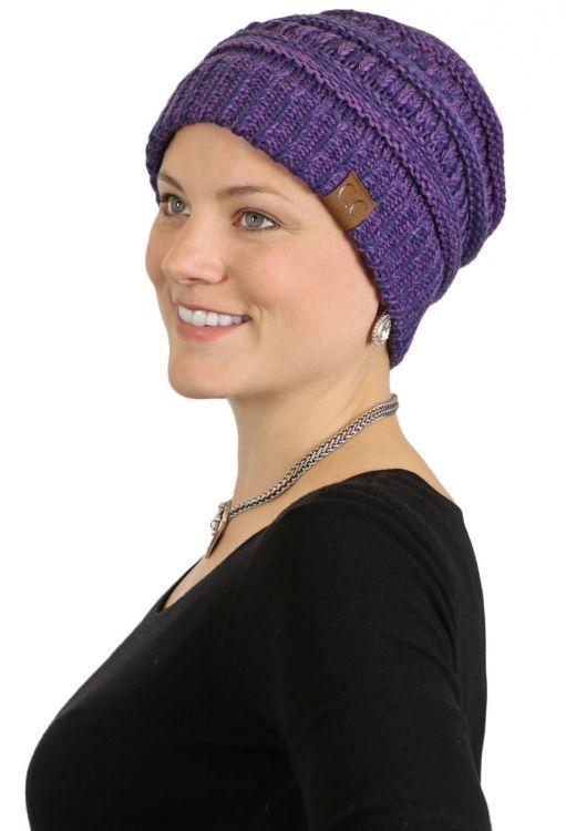 CeeCee Knit Beanie Hat for Women purple chemo cap cancer headwear 003b38f1c59