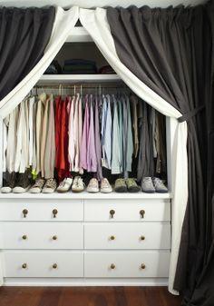 Closet Door Curtain Ideas Closet With Black And White