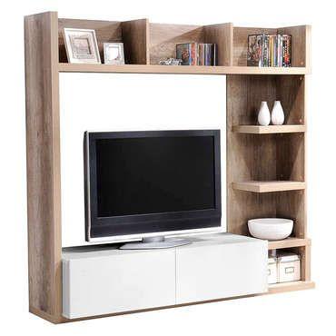 Meuble TV 2 tiroirs LEADER coloris chªne et blanc pas cher C