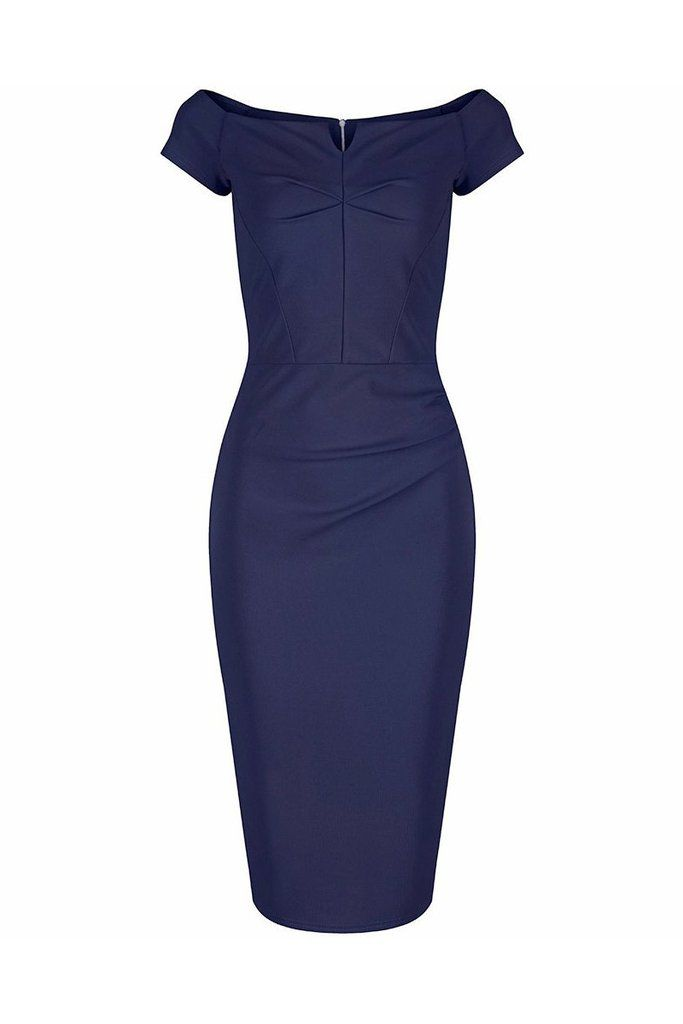 Navy Blue Notch Neck Cap Sleeve Bodycon Pencil Dress | Navy blue ...