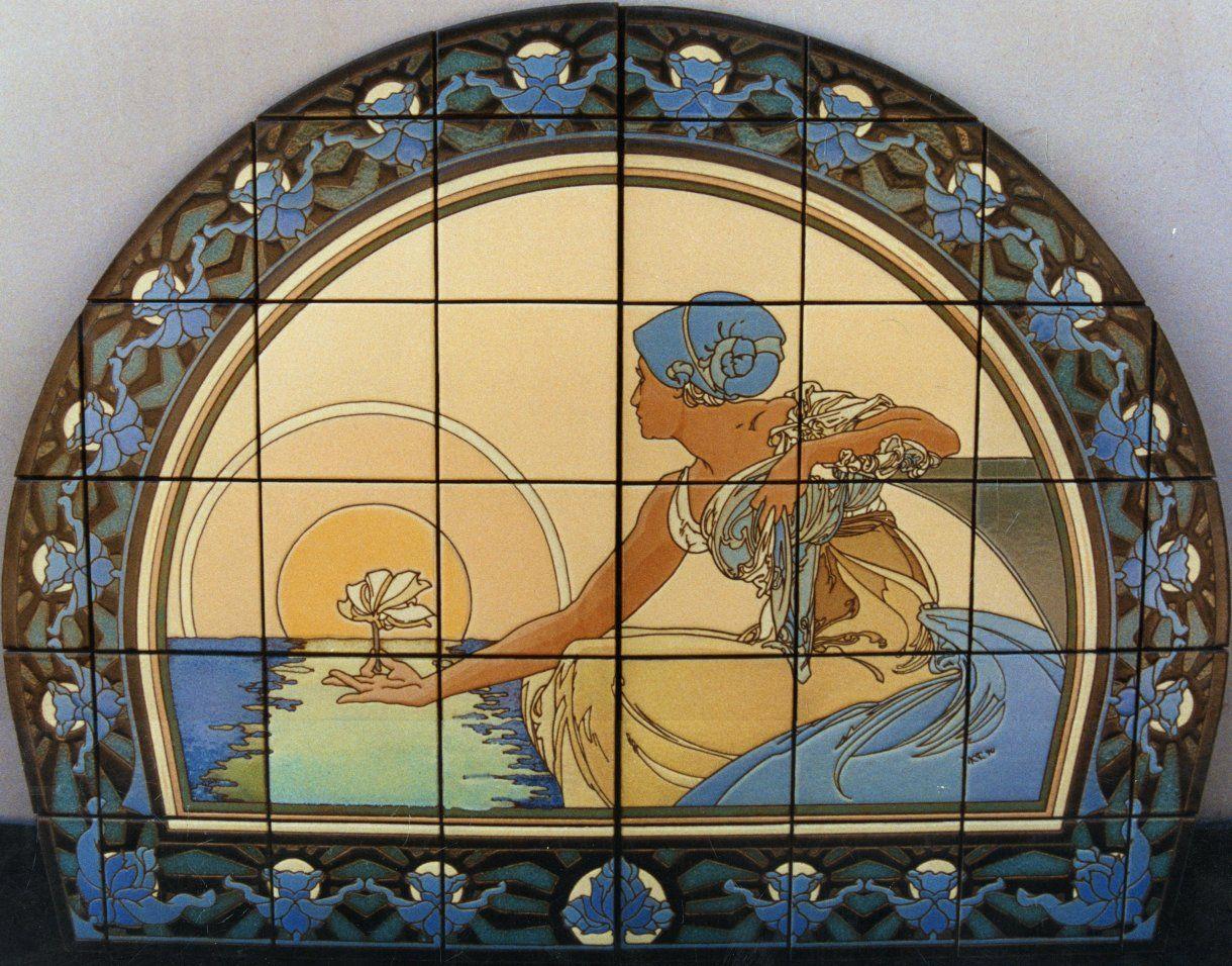 an Art Nouveau inspired Cuerda Seca tile mural | Artists that ...