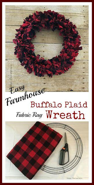 Easy Christmas Rag Wreath Buffalo plaid, Wreaths and Buffalo