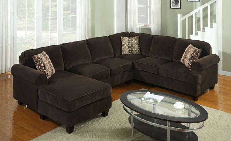 Corduroy Fabric Sectional Sofa In Chocolate Brown Finish