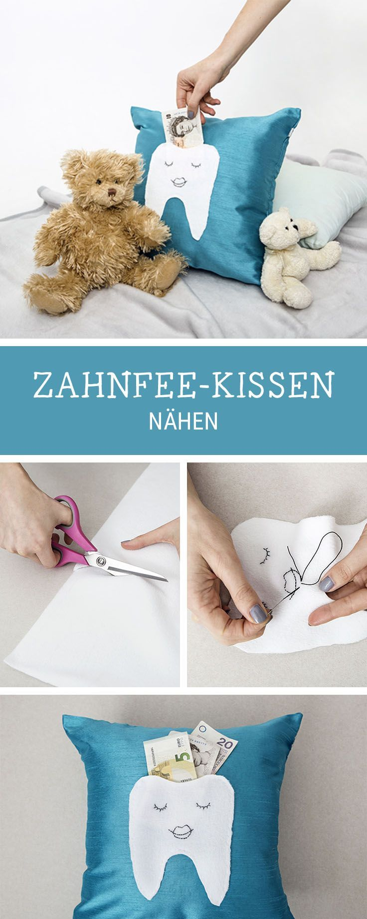 n hanleitung f rs kinderzimmer zahnfee kissen mit tasche n hen diy inspiration for kids. Black Bedroom Furniture Sets. Home Design Ideas