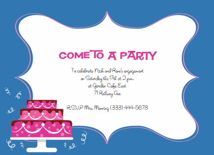 Free Printable Party Invitations Templates Pink Layer Cake Http