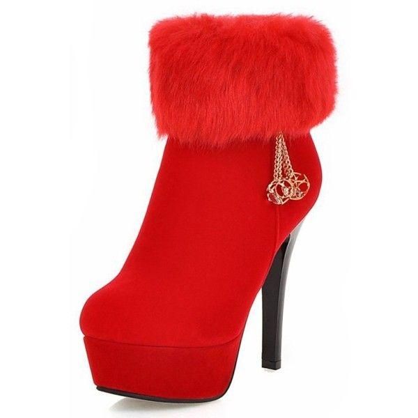 Women's Sexy Fluffy Faux Fur Velvet Round Toe Side Zipper Short Boots Stiletto High Heel Platform Ankle Booties