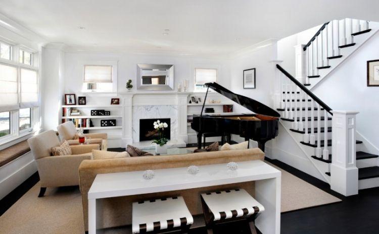 elegantes Wohnzimmer in Weiß mit Sitzmöbeln in Beige Wohnzimmer - wohnzimmer beige wei